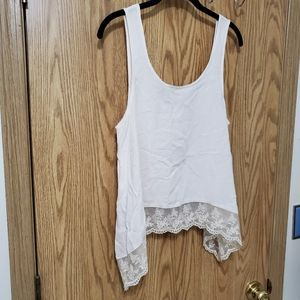 Cream Tank Top Lace Hem